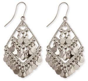 3-Tier Diamond Shimmer Belly Dance Earrings - SILVER