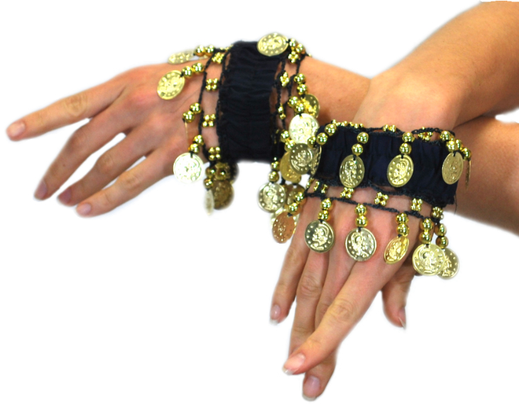 Chiffon Stretch Bracelets with Beads & Coins (PAIR): BLACK / GOLD