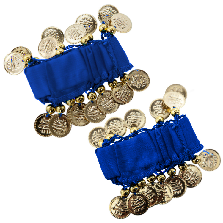Chiffon Stretch Bracelets with Beads & Coins (PAIR): ROYAL BLUE / GOLD