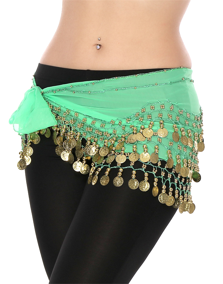 Chiffon Belly Dance Hip Scarf with Beads & Coins - MINT GREEN / GOLD