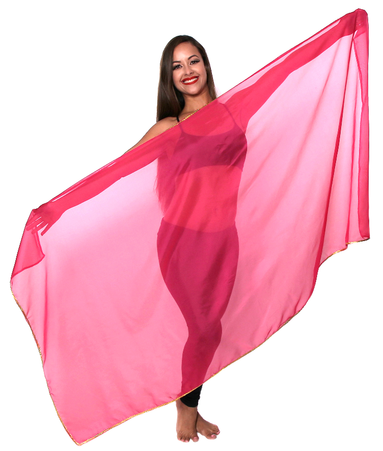 Petite Chiffon Belly Dance Veil with Sequin Trim - ROSE PINK / GOLD