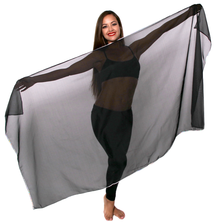 Petite Chiffon Belly Dance Veil with Sequin Trim - BLACK / SILVER