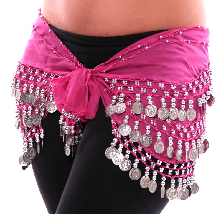 Chiffon Belly Dance Hip Scarf with Beads & Coins - FUCHSIA / SILVER