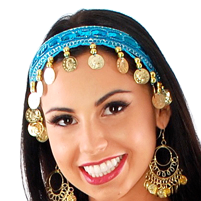 Sequin Belly Dance Costume Headband with Coins - TURQUOISE / GOLD