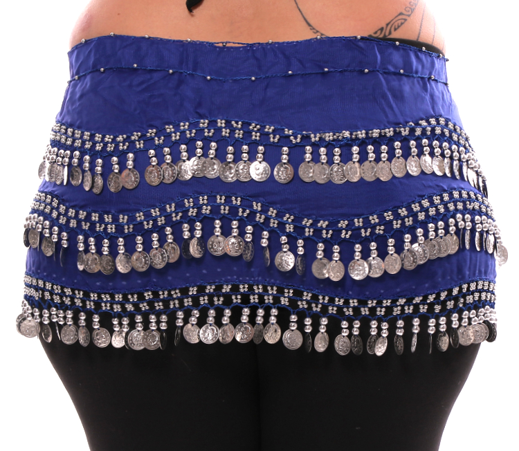 Plus Size 1X - 4X Chiffon Belly Dance Hip Scarf with Coins - ROYAL BLUE / SILVER