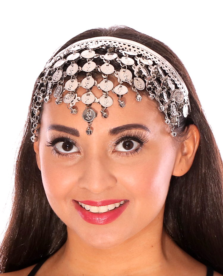 Pyramid Coin Headband for Belly Dance - SILVER