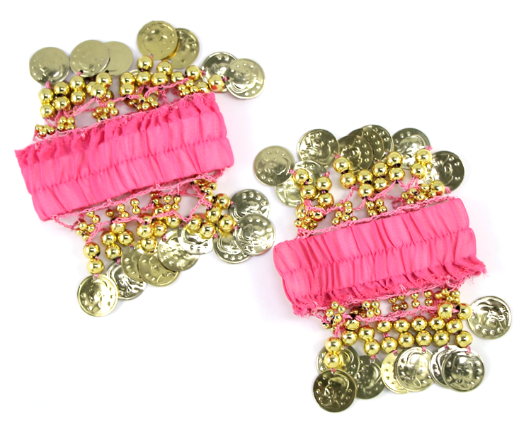 Chiffon Stretch Bracelets with Beads & Coins (PAIR): PINK / GOLD