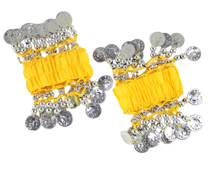 Chiffon Stretch Bracelets with Beads & Coins (PAIR): YELLOW / SILVER