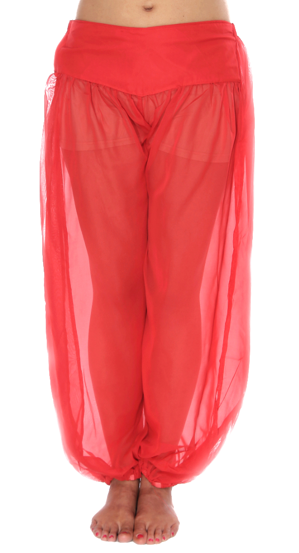 Chiffon Harem Pants with Slits - RED