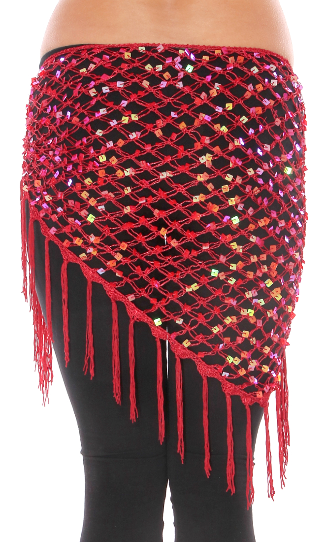 Crochet Net Shawl Scarf with Square Sequins & Fringe - DEEP RED OPAL
