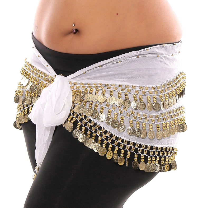 Plus Size 1X - 4X Chiffon Belly Dance Hip Scarf with Coins - WHITE / GOLD