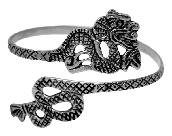 Metal Dragon Upper Arm Cuff Bracelet - SILVER