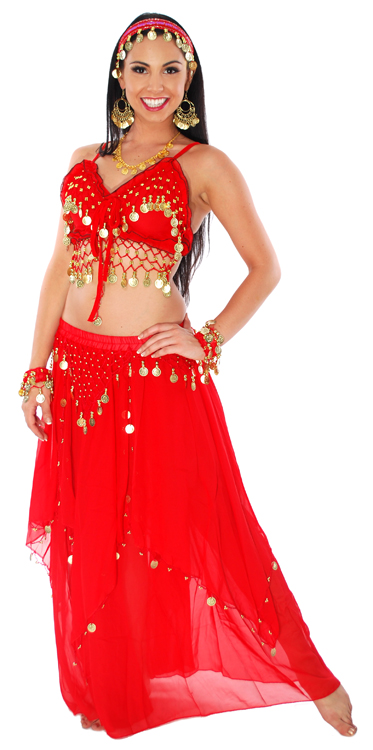 Red Belly Dancer Costume With Gold Coins