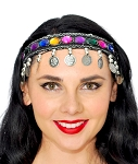 Jewel Headband Belly Dance Jewelry with Coins & Beads - SILVER