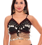 Chiffon Deluxe Belly Dance Bra Top - BLACK / SILVER