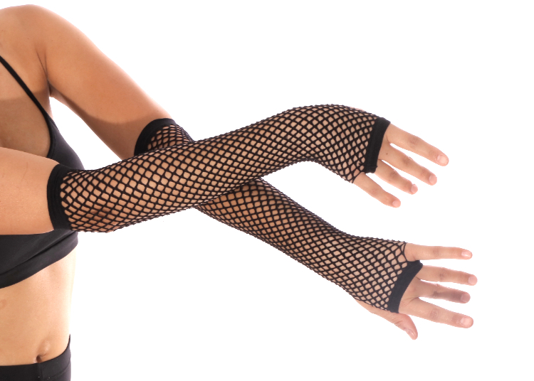 Fishnet Fingerless Gloves / Sleeves (PAIR) - BLACK