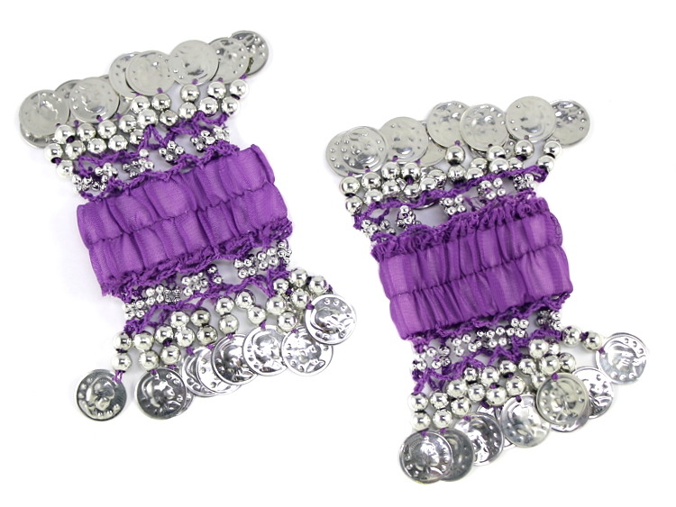 Chiffon Stretch Bracelets with Beads & Coins (PAIR): PURPLE / SILVER