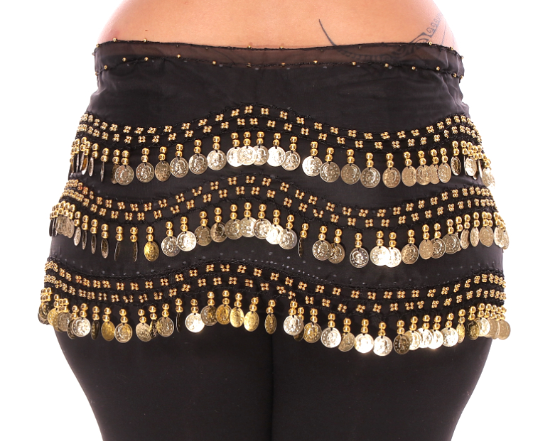 Plus Size 1X - 4X Chiffon Belly Dance Hip Scarf with Coins - BLACK / GOLD