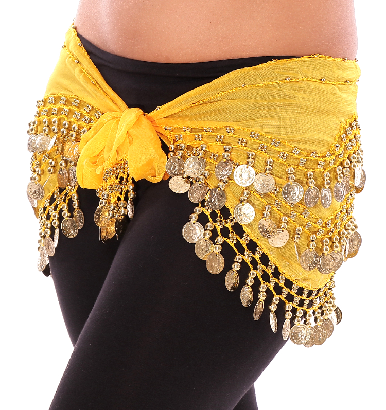 Chiffon Belly Dance Hip Scarf with Beads & Coins - YELLOW / GOLD