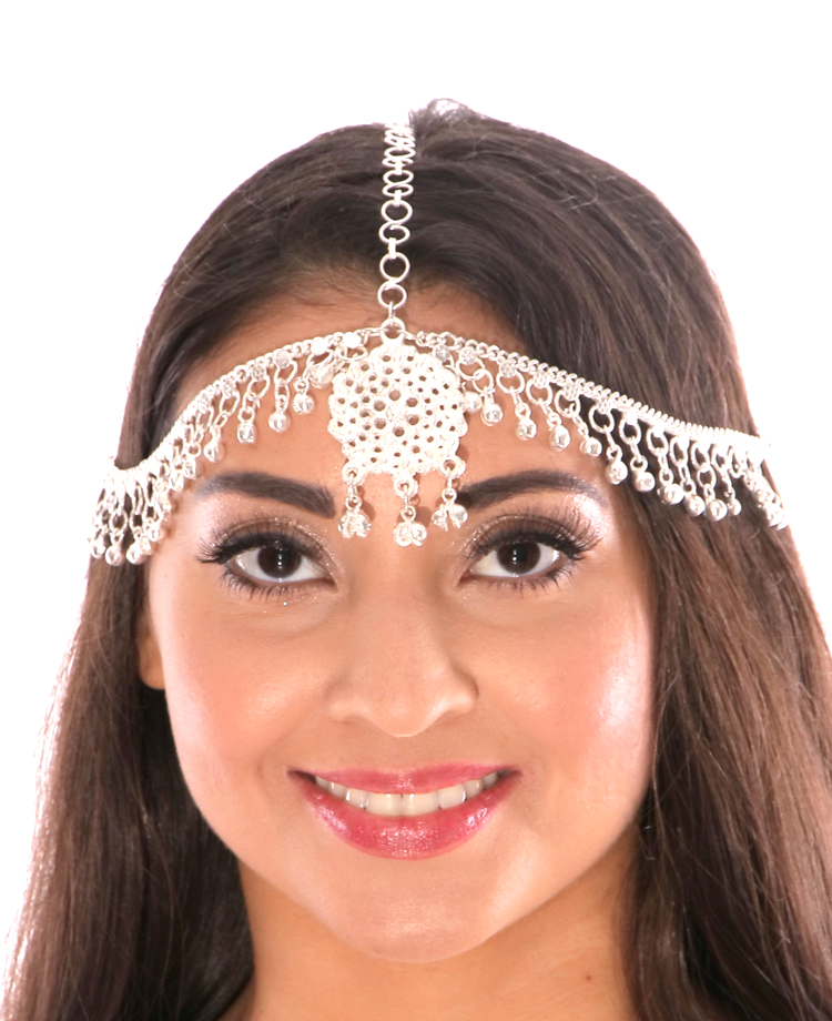 Belly Dance or Bollywood Medallion Head Piece with Bells - SILVER