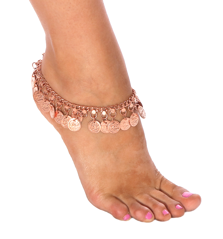 Belly Dance or Tribal Costume Coin Anklet - COPPER