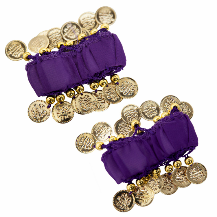 Chiffon Stretch Bracelets with Beads & Coins (PAIR): PURPLE GRAPE / GOLD