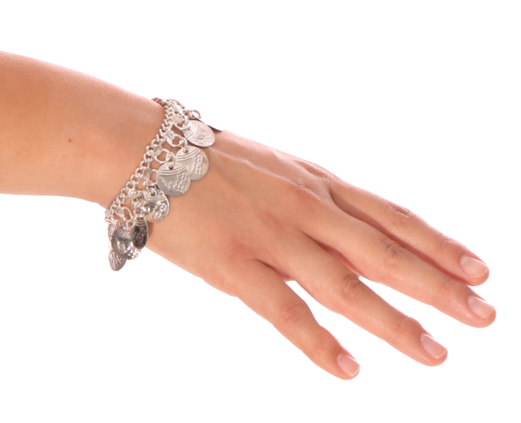 Classic Belly Dance Coin Bracelet - SILVER