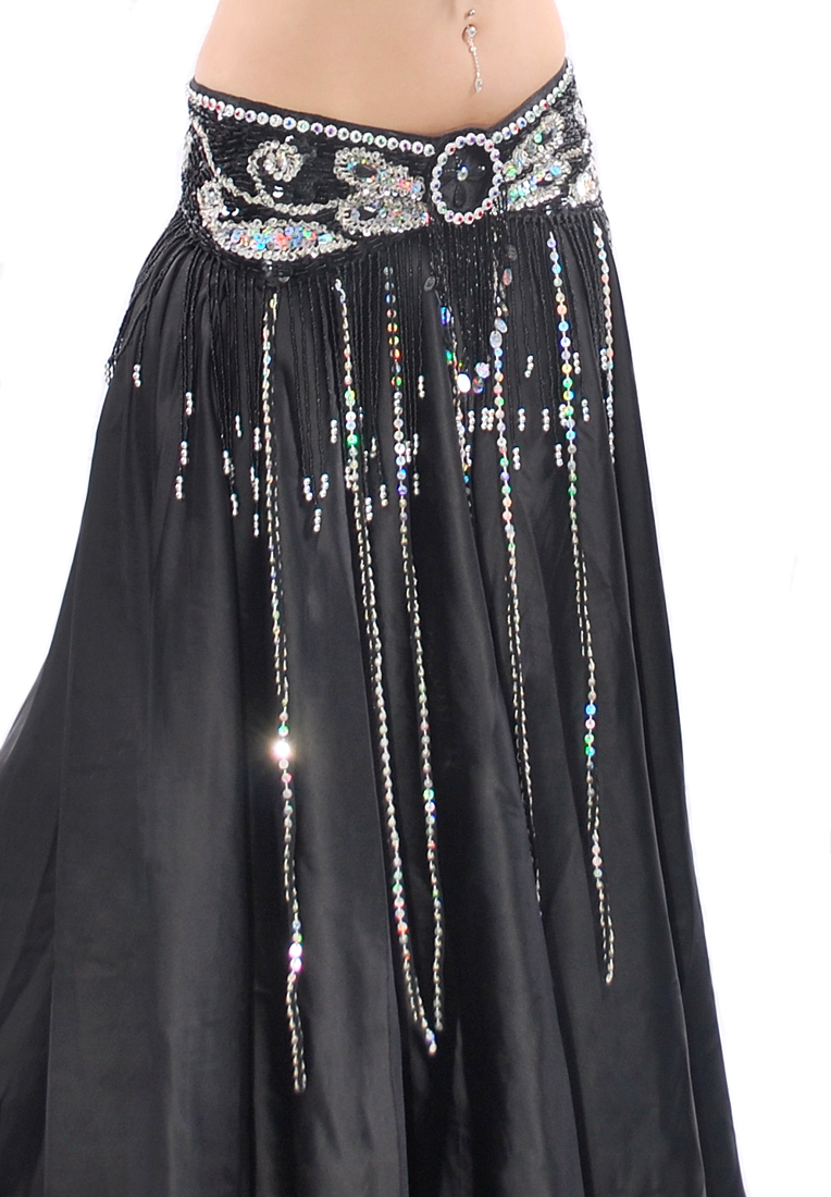 Beaded Satin Belly Dance Belt with Sequin Butterfly Design & Fringe - BLACK
