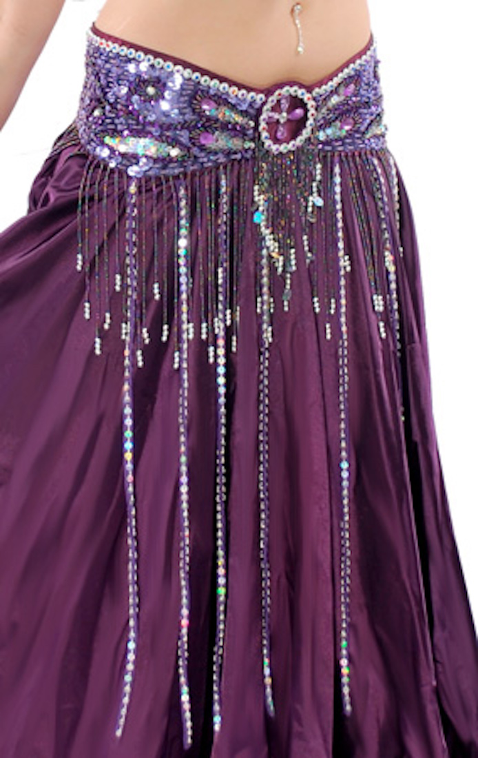 Beaded Satin Belly Dance Belt with Sequin Butterfly Design & Fringe - PURPLE PLUM