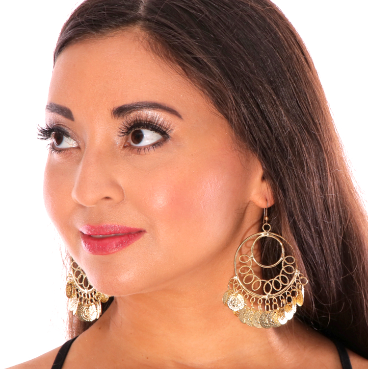 Classic Belly Dance Coin Hoop Earrings - GOLD