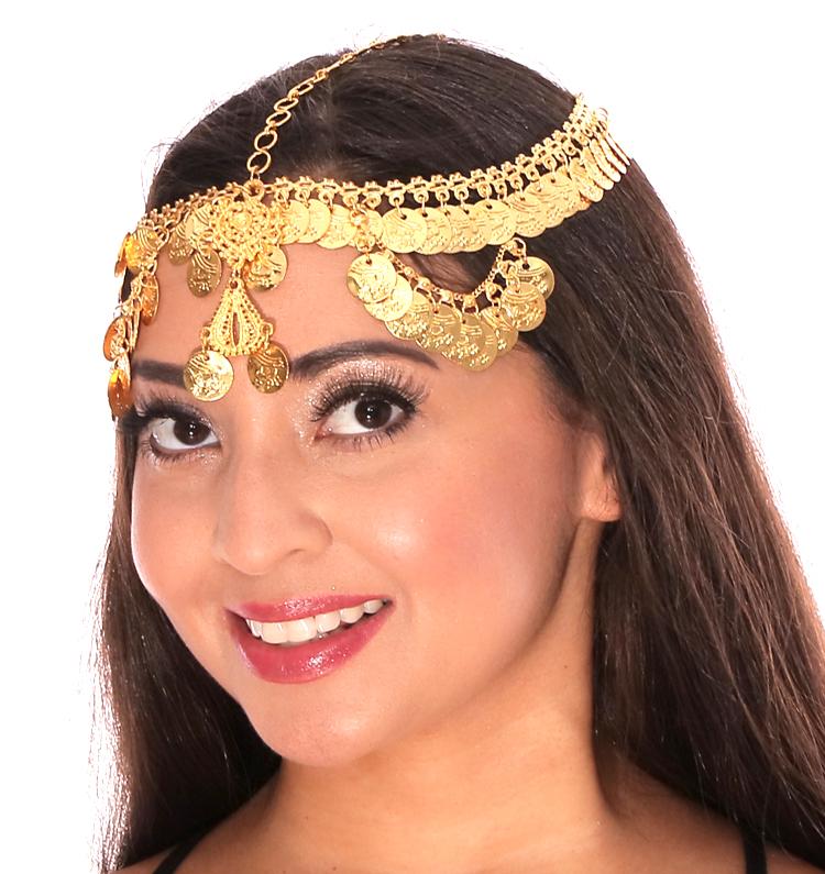 Belly Dancer Metal Coin Headpiece Gold