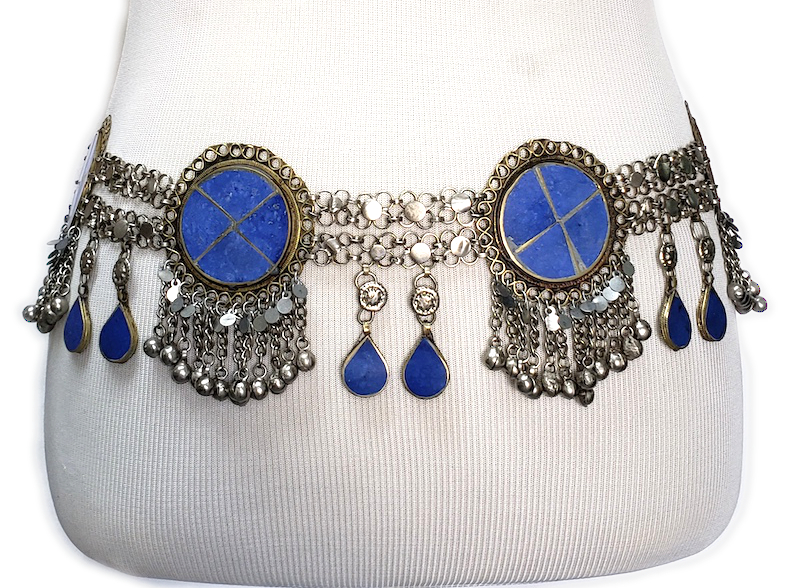 Afghani Tribal Belt with Round Lapis Medallions