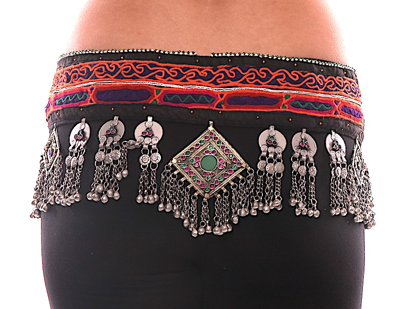 Afghani Kuchi Tribal Textile Belt with Bells