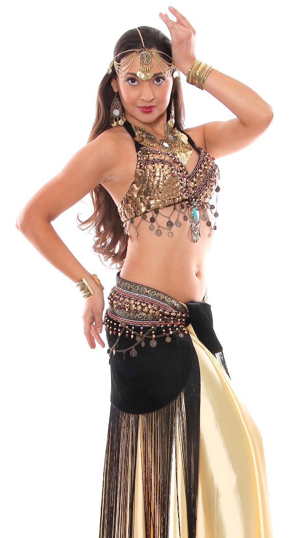 2-Piece Arabia Coin Dance Costume Set with Velvet Fringe Belt
