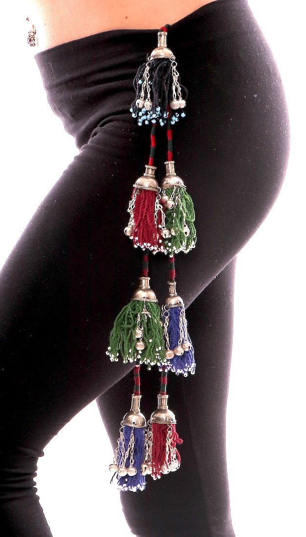 Colorful Beaded Afghani Tribal Tassels on Cord