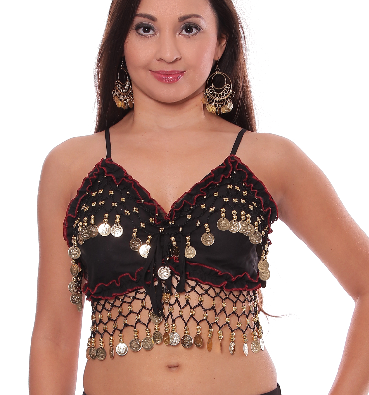 Chiffon Deluxe Belly Dance Bra Top - BLACK / GOLD