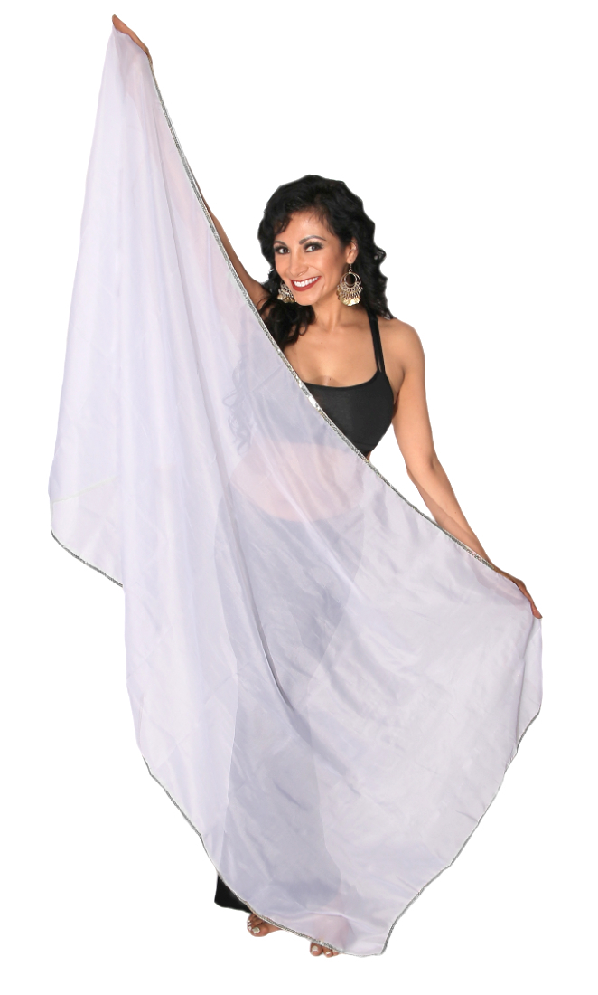 Petite Chiffon Belly Dance Veil with Trim - WHITE / SILVER