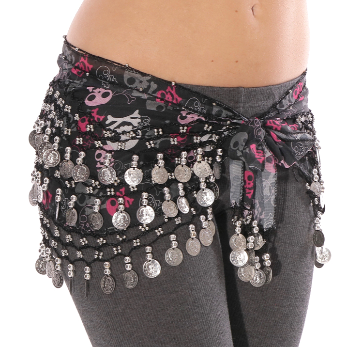 Chiffon Belly Dance Hip Scarf with Beads & Coins - Skulls & Crossbones - SILVER