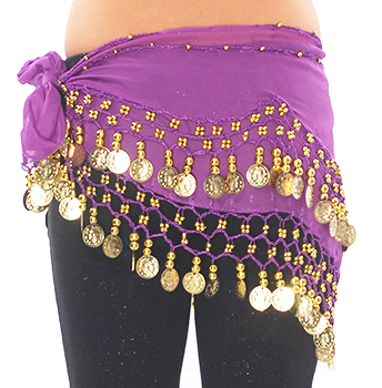 Kids Size Chiffon Hip Scarf with Coins - PURPLE / GOLD