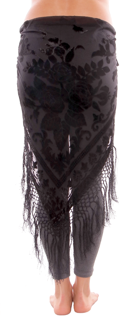 Burnout Velvet Rose Pattern Shawl Hip Scarf with Fringe - BLACK