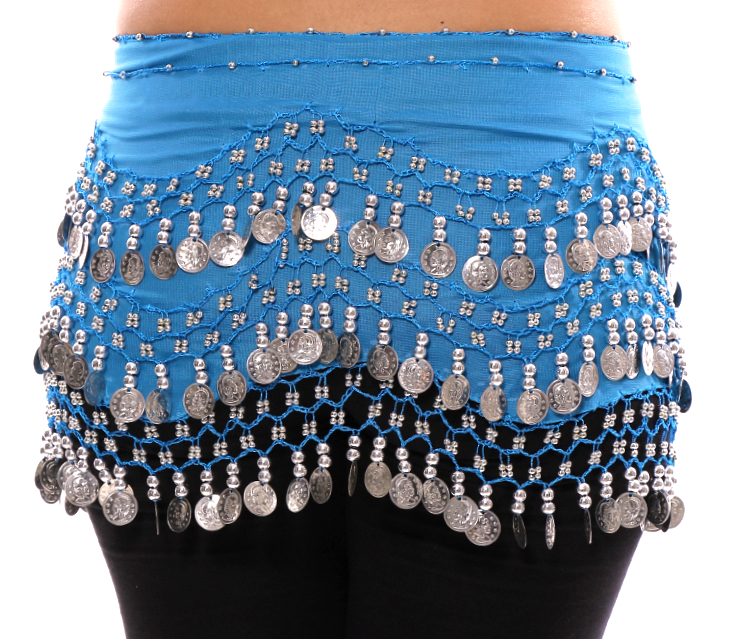 Chiffon Belly Dance Hip Scarf with Beads & Coins - AZURE BLUE / SILVER