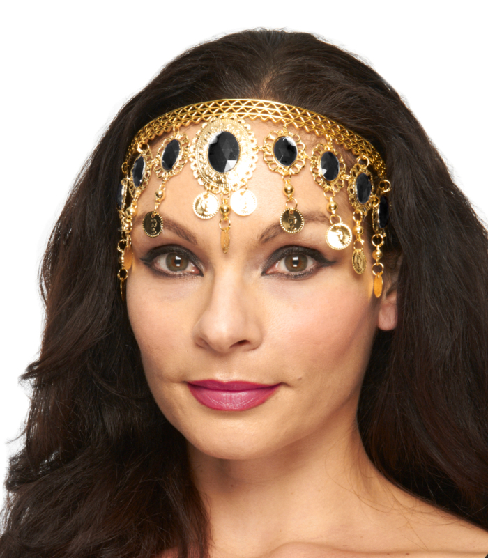 Arabesque Metal Head Piece with Coins & Jewels - GOLD / BLACK