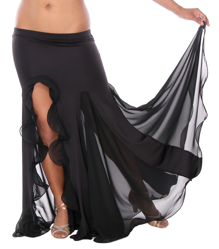 Egyptian Style Belly Dance Skirt with Ruffle Side Slit