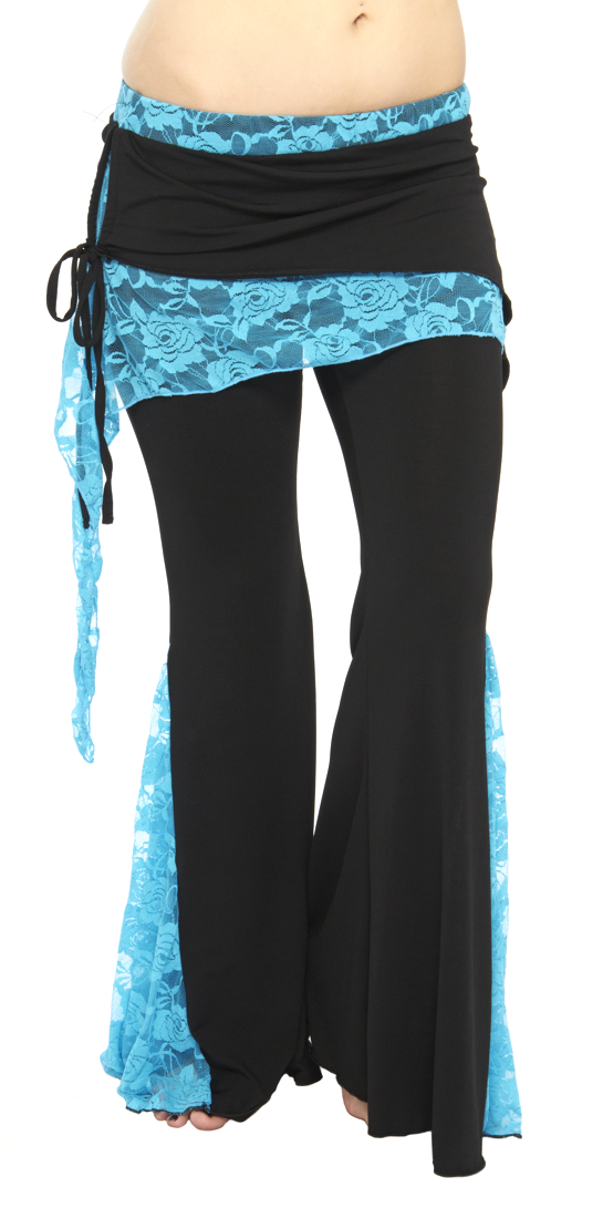 Tribal Fusion Belly Dance Pants with Lace Accents - BLACK / BLUE TURQUOISE
