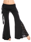 Tribal Fusion Belly Dance Pants with Lace Accents - BLACK