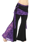 Tribal Fusion Belly Dance Pants with Lace Accents - BLACK / PURPLE