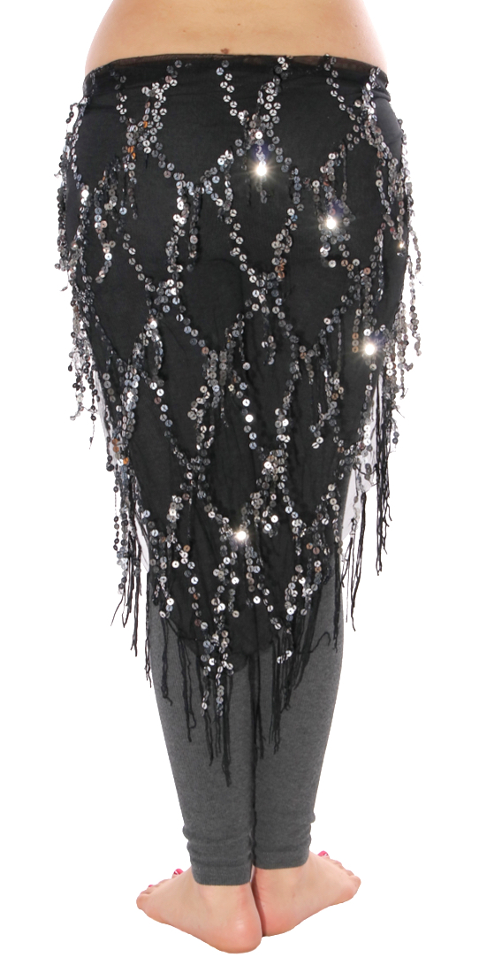 Elegant Sequin Fringe Mesh Belly Dance Hip Scarf - BLACK / SILVER