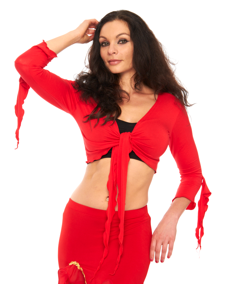 Criss-Cross Choli Top with Handkerchief Sleeves - RED