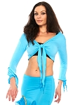 Criss-Cross Choli Top with Handkerchief Sleeves - LIGHT BLUE TURQUOISE