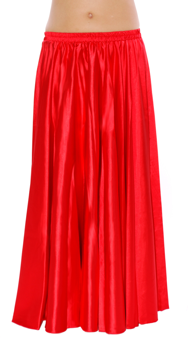 Satin Belly Dance Costume Skirt - RED